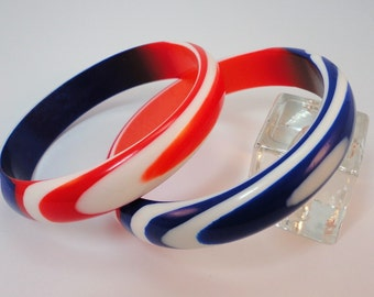 60s  Set 2 Patriotic Red, White, Blue Sliced Lucite Bangles Bracelets