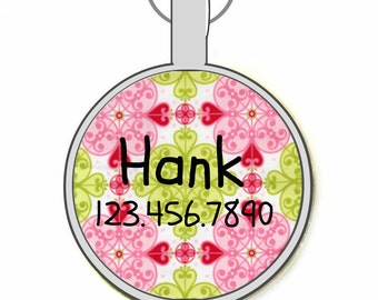 Pink and Green Moroccan Silver Custom Personalized Dog ID Pet Tag Custom Pet Tag You Choose Tag Size & Colors