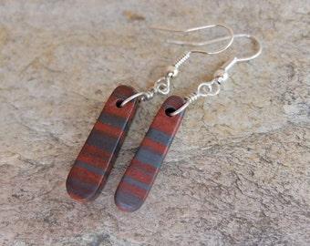Gem stone earrings Hematite & Red Jasper - Australian natural stone jewellery - red grey earrings