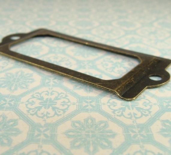 4 bronze label frames journal hardware antique brass 70mm for 70mm cabinet pulls