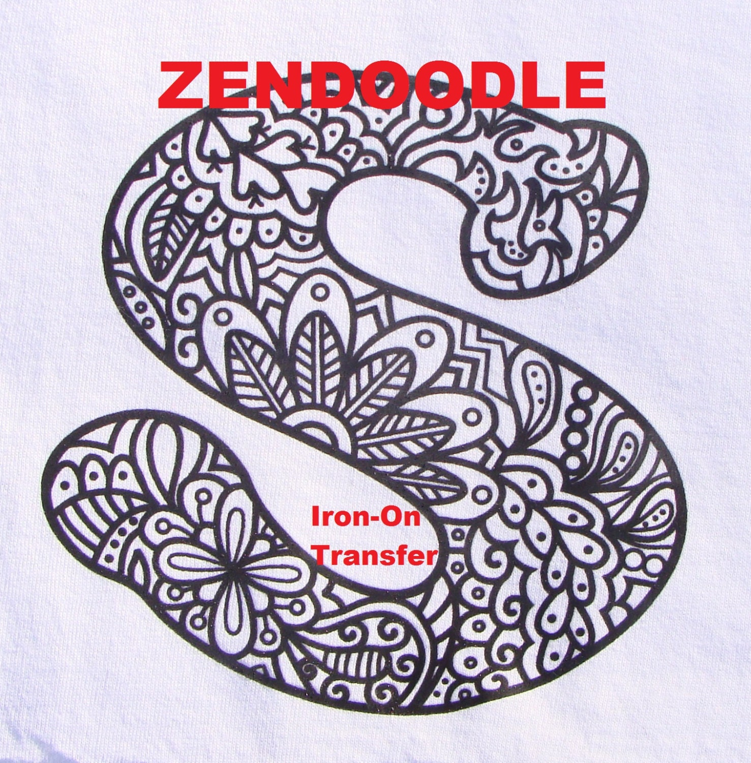 Design your own t-shirt coloring page - Letter S Transfer Iron On Heat Press Adult Coloring Page Zendoodle For T Shirts Totes Diy Color With Fabric Markers Personalized Party Favor