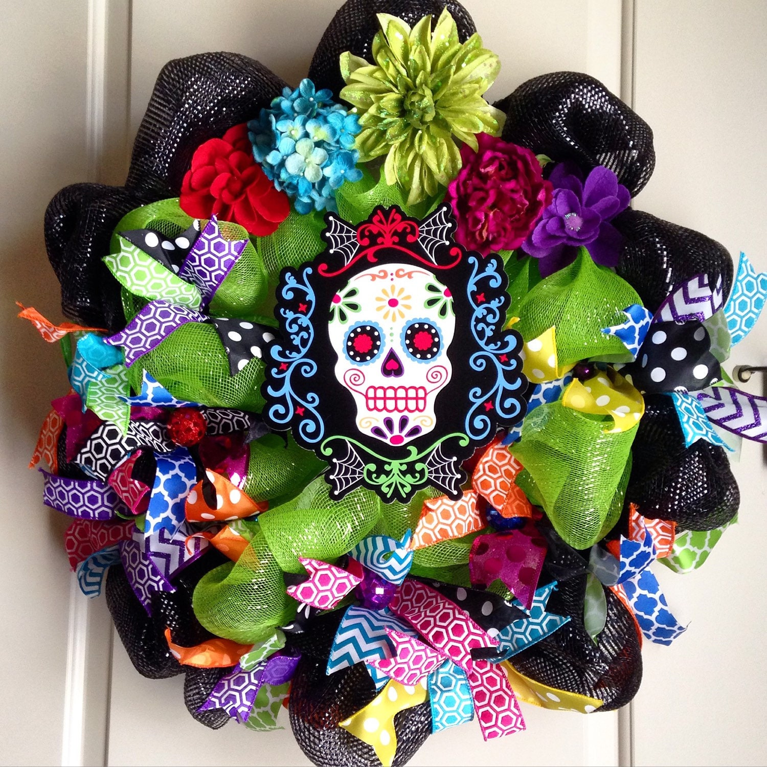 Day of the Dead Sugar Skull Wreath by LuciaMorris on Etsy