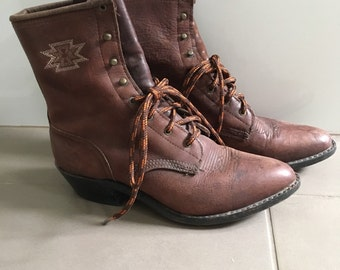 Brown leather embroidered cuban heel boots