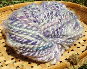 Hand Spun Romney Wool Yarn 62 yards 6-8 wpi Purple Ivory