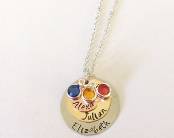 Personalized Necklace- 3 layered with birthstone mom necklace