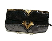 Vintge Black and Gold Sequin Wristlet Clutch Vintage Sequin Clutch Clutches and Evening Bags Black and Gold Clutch Vintage Evening Bags