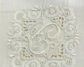 Vintage Madeira Handkerchief Hankie Monog with Label