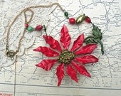 poinsettia necklace christmas assemblage repurpose recycle red flower jewelry glass beads