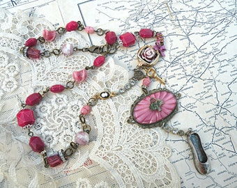 necklace shoe assemblage asymmetrical mulberry burgundy basket