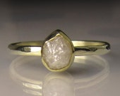 Raw White Diamond Engagement Ring, Pear Raw Diamond Ring, Recycled 18k and 14k Gold, Rough Diamond Ring