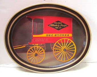 Vintage Metal Serving Tray, A&P Grocery, oval metal tray, Red Black, Antique Wagon, Advertising Premium, Grocer, Wagon Wheels