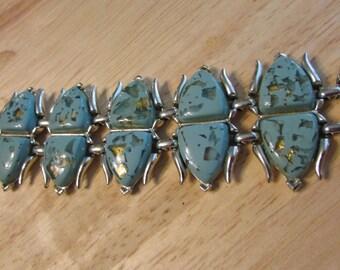 Rare Signed CORO Vintage Lucite Blue Bracelet Confetti Embedded Gold Flecks Bracelet