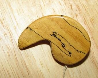 Folk Art Carved DRIFTWOOD PIN Boomerang Design