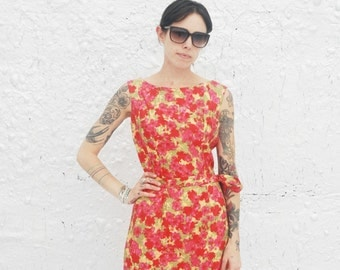 1960s Bright Pink and Yellow Floral Summer Dress and Bolero Jacket Vintage Sixties Gigi Young New York Day Dress XS/S