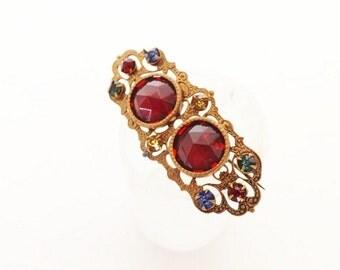 Art Deco Vintage Brooch, Red Rhinestone Brooch, Vintage Jewelry, Antique Brooch, Antique Accessories, Jewelry Accessories, Dressy Brooch