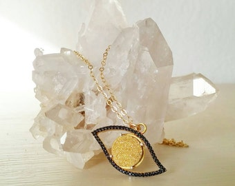 Evil Eye Drusy Necklace. Good omen. Judaism. Gift. Unique. Charm necklace. Gold evil eye. Gold druzy. Black onyx. Jewish. Protection