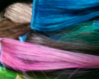 Large GRAB BAG of EXTENSIONS + Surprises!!!  Clip in Hair Extensions, Mixed Human and Synthetic, Multi colors!