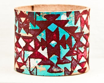 Turquoise Boho Bracelets Bohemian Accessories Wrist Cuffs - Handpainted Etsy Finds - Women's Leather Jewelry