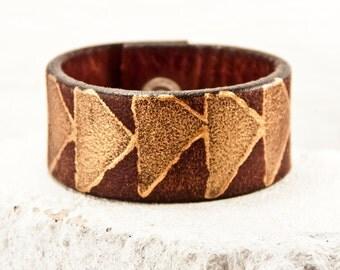 Leather Boho Cuff - Women's Bracelet Jewelry - Rustic Primitive - Wrist Tattoo Cover