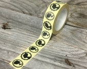 Washi Tape - 15mm - Black Vintage Cameo Silhouettes on Buttercream - Deco Paper Tape No. 1143