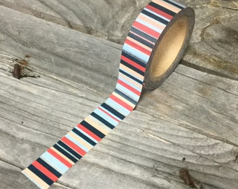 Washi Tape - 15mm - Blue Red Peach White Vertical Stripes - Deco Paper Tape No. 976