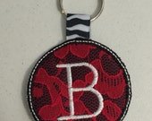 B Embroidered Keychain Ready to ship