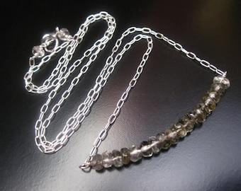 Rutilated Quartz Necklace, Rutilated Quartz Bar Pendant, Faceted Rutilated Quartz Rondelles, Sterling Silver Chain, Rutilated Quartz Jewelry