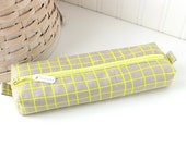 Yellow and Gray Pencil Case Geometric Boxy Pouch Gray Geometric Print