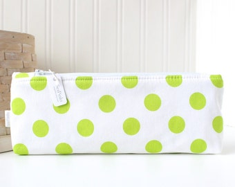 Lime Green Polka Dots Pencil Case Green Pencil Pouch Polka Dot Pencil Case Purse Organizer