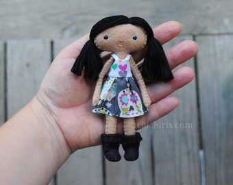 5 inch Tall Tiny Felt Doll * Ready To Ship* Dollhouse Doll Miniature * Poseable Handmade Cloth Doll