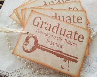 Graduation Key Vintage Inspired Tags Set of 6