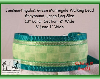 Jansmartingales,  Green Walking Lead, Dog Collar and Lead Combination, Greyhound, Large Dog Size, Grn131