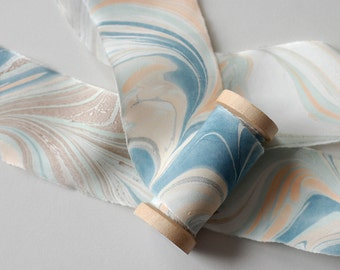 Marbled Silk Ribbon in Peach and Prussian Blue