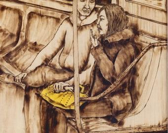 """Inside Joke, Burned wood Subway Portrait, 9""""x12"""""""