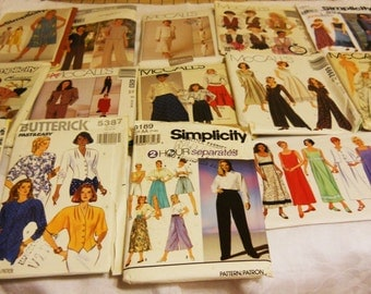 Lot 14 Sewing Patterns Uncut 1980s-1990s Dress Skirt Blouse