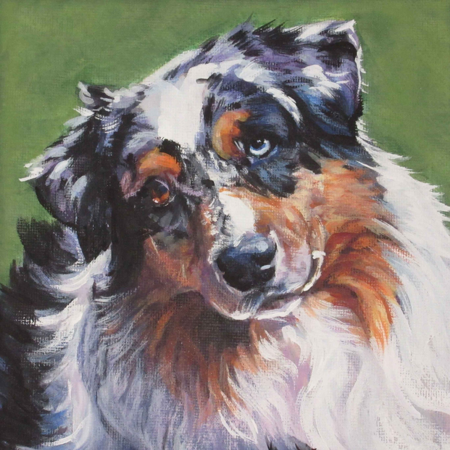 Australian shepherd aussie dog art canvas print of painting for Dog painting artist