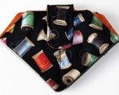 Folded Needle Case, Black with Wooden Spools of Thread