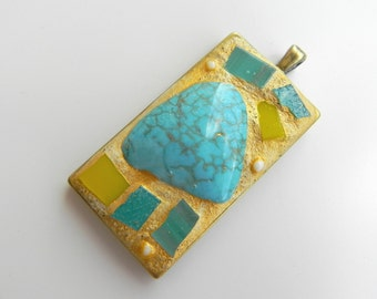 Glass mosaic pendant Summer, glass mosaic art, wearable mosaic art, summer pendant, dyed turquoise large stone, ooak gift for her,