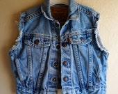 Vintage Kid Child Toddler Orange Tab LEVI'S Denim Jean Cut off Vest Jacket Snap Buttons 2T - 5T