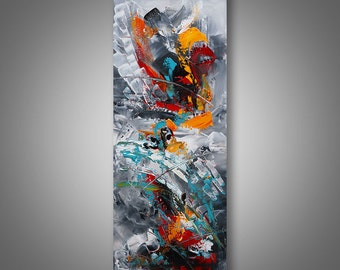 """Abstract Painting Original Painting Palette Knife Modern Landscape Acrylic Art by Catalin 36""""x12"""" Contemporary Abstract Painting"""
