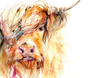 Contemporary LIMITED edition print of my original watercolour painting HIGHLAND COW  Scottish animal art wall decor