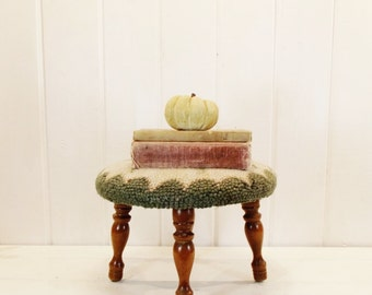 Vintage Round Needlepoint Stool Four Legged Foot Stool
