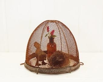 Vintage Wire Mesh Horse Basket, Repurposed Cloche or Planter, Rutsy Patina, Farmhouse Decor