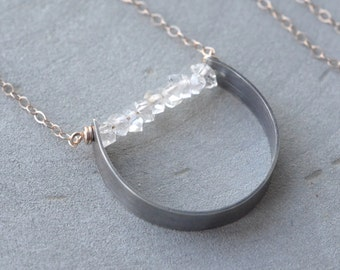 Herkimer Diamond Necklace, Rose Gold Oxidized Silver, April Birthstone Natural Crystal Long Geometric Minimalist Necklace Mixed Metal