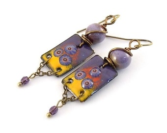 Purple and Yellow Enameled Earrings - Brass Earrings - Purple Earrings - Artisan Earrings - Boho Earrings - Purple Yellow Earrings - AE121