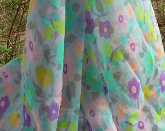 Silly Poseys Sheer Chiffon Yardage Vintage Fabric