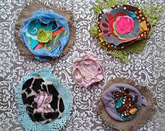 Set Of FIVE BIG RUSTIC Funky Fabric Flowers Hand Sewn