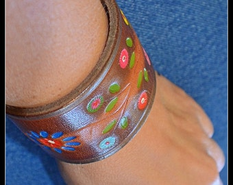 Boho Floral Recycled Leather Cuff
