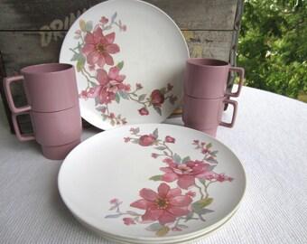 Vintage Melamine Dusty Rose Plates and Cups set of 4 Melmac dinner set