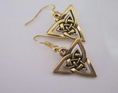 Gold Triquetra Earrings Gold Celtic Knot Dangle Earrings Triangular Knot Metal Triquetra Charm Trinity Knot Fish Hook Earring
